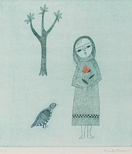 南桂子「少女と鳥」銅版画