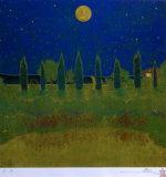 福王寺一彦「月の光と水面に」版画41×41cm