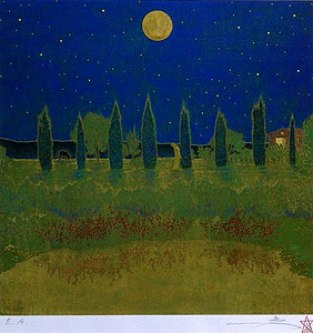 福王寺一彦「月の光と水面に」版画