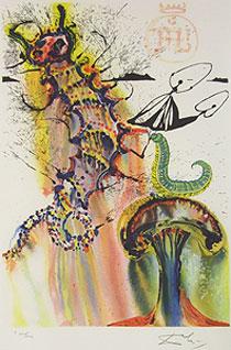 サルバドール・ダリ「いもむしの忠告」版画
