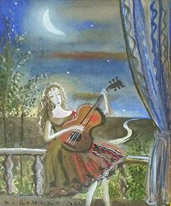 織田広比古「星空のテラスにて」油彩