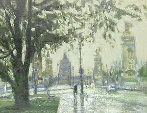 三宅輝夫「雨のアンバリット」油彩