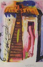サルバドール・ダリ「ウサギがビルを送りこむ」版画48.5×40cm