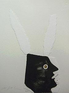 ミンモ・パラディーノ「黒うさぎ」版画
