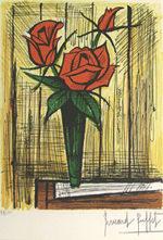 ベルナール・ビュッフェ「薔薇」版画39×28cm