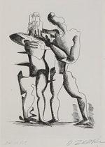 オシップ・ザッキン「想像を絶する高所での戦い」銅版画30.5×21.7cm