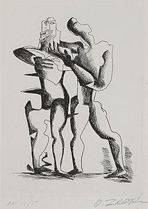 オシップ・ザッキン「想像を絶する高所での戦い」銅版画