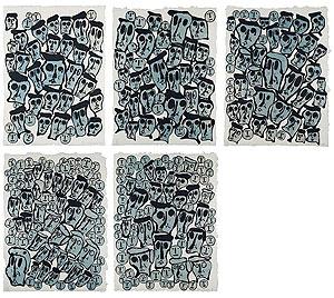 ドナルド・バチュラー「CROWDS」木版画