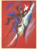 岡本太郎「歓喜」木版画45.5×33.5cm