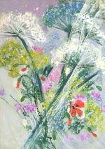 西村計雄「野の花」油彩8号