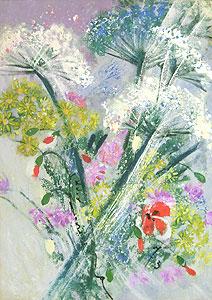 西村計雄「野の花」油彩