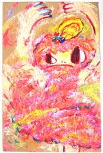 ロッカクアヤコ「無題」ダンボールにアクリル77×49cm