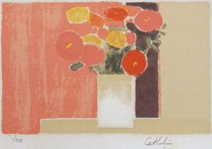 ベルナール・カトラン「ピンク背景の百日草の花束(小)」版画
