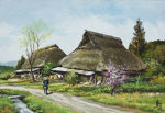 林喜市郎「春の備後路」油彩15.8×22.7cm