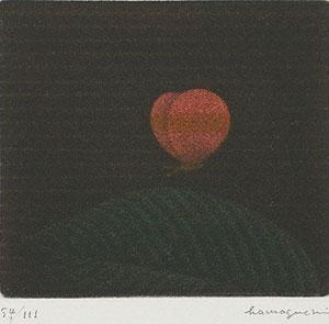 浜口陽三「蝶と葉」銅版画