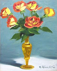 木下孝則「薔薇」油彩