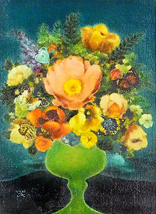 鷹山宇一「高原の花」油彩