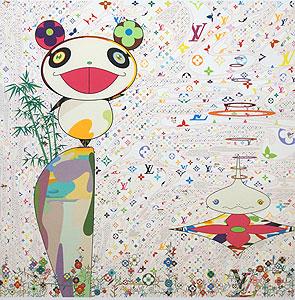 村上隆「スーパーフラットモノグラム:パンダとその友人」版画