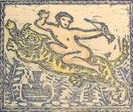 谷中安規「虎に乗る童子」木版画12.4×10.3cm