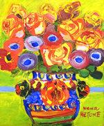 野間仁根「壷の花」油彩3号