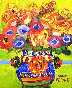野間仁根「壷の花」油彩