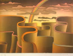 ジャン・ミシェル・フォロン「虹の彼方」銅版画26.5×36.5cm