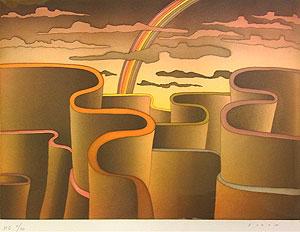 ジャン・ミシェル・フォロン「虹の彼方」銅版画