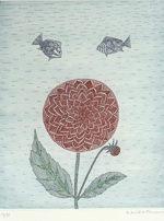 南桂子「赤い花と魚」銅版画35.2×28.8cm
