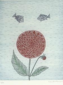 南桂子「赤い花と魚」銅版画
