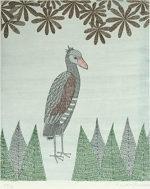 南桂子「異国の鳥」銅版画34×28.4cm