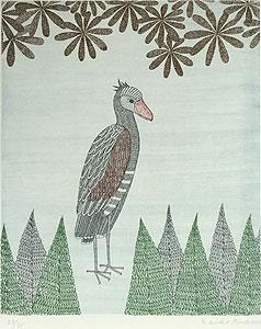 南桂子「異国の鳥」銅版画