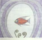 南桂子「美しい魚」銅版画28.9×32.4cm