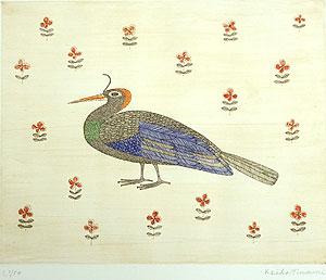 南桂子「ブラジルの鳥」銅版画