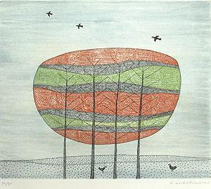 南桂子「樹木」銅版画