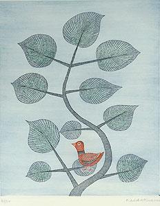 南桂子「枝の上の鳥」銅版画