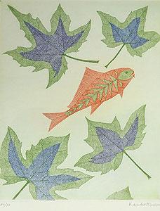 南桂子「葉と赤い魚」銅版画
