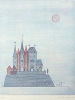 南桂子「青い城」銅版画36.1×28.7cm