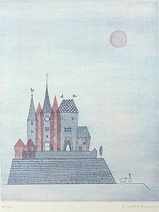 南桂子「青い城」銅版画
