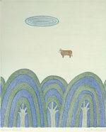 南桂子「牛のいる風景」銅版画33.8×28.4cm