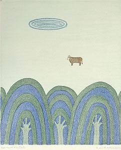 南桂子「牛のいる風景」銅版画
