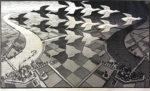 M.C.エッシャー「昼と夜」木版画39.1×67.7cm