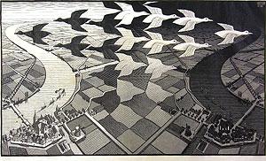 エッシャー「昼と夜」木版画