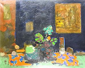 ジル・ゴリチ「赤いテーブルクロス」油彩