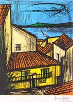 ベルナール・ビュッフェ「サントロペ」版画65.4×50cm