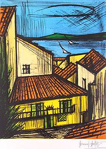 ベルナール・ビュッフェ「サントロペ」版画