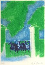 アンドレ・ブラジリエ「夏の乗馬」版画68×46.7cm
