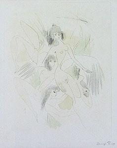 東郷青児「4人の裸婦」手彩色銅版画