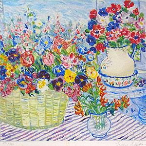 レスリー・セイヤー「バスケットの花束」版画