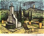 ベルナール・ビュッフェ「噴水とテラス」版画50.5×67cm