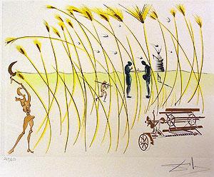 サルバドール・ダリ「収穫機」銅版画